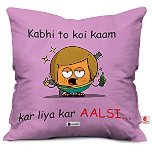 Indigifts Kabhi Toh Kaam Kar Liya Kar Aalsi Quote Printed Purple Cushion Cover 12×12 with Filler – Birthday Gift for…