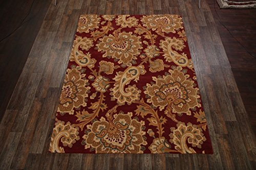 Agra Gold Area Rugs - Red/Gold Paisley 8x11 Oushak Classical Agra Oriental Area Rug for Living Room Red (7' 11'' x 11')