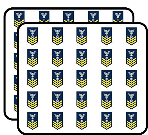 US Navy Gold E-6 Data Systems Technician DS Military Veteran Served 50 Pack Sticker for Scrapbooking, Calendars, Arts, Album, Bullet Journals and More 1""
