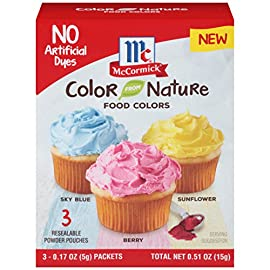 McCormick Color From Nature, 0.51 oz 26 Create colorful works of art with frosting, beautiful pastel Easter Eggs, and so much more Includes re-sealable, dry powder pouches for easy storage. Up to four uses per color High quality powdered food coloring made from only natural ingredients