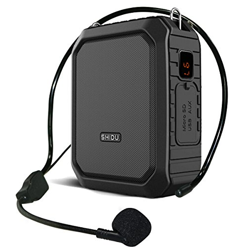 Voice Amplifier Bluetooth Loudspeaker with Wire Headset Mic, Voice Saver Waterproof Personal 18 Watts Big Power Pa System for Outdoor/ Teachers/ Yoga Instructors/ Coaches/ Elderly/ Tour Guide (Black) (Integrated Loudspeaker)