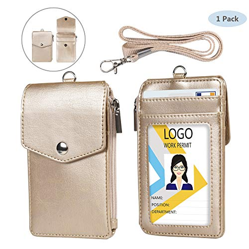 Leather Badge Holder with Lanyard,1 Clear ID Window and 3 Card Slots with Secure Snap Button Cover, 1 Zipper Wallet Pocket,1 Durable Nylon Lanyard for Offices ID,School ID, Credit ()