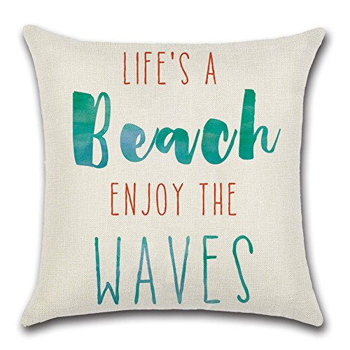 Qinqingo Life's A Beach Enjoy the Waves Pattern Throw Pillow Cover Cushion Case Cotton Linen Sofa Car Home Decorative 18