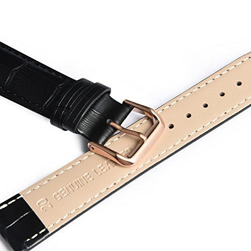 Leather Watch Band with Rose Gold Watch Buckle - Choices of Color & Width (18mm,20mm or 22mm)