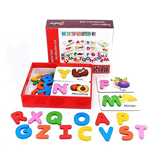 PECC Vegetable Alphabet Cards,Wooden Alphabet Blocks Toys Learning Fruit Vegetable ABC Alphabet Toys for Toddlers/Kids/ 3 ,4,5Year Old
