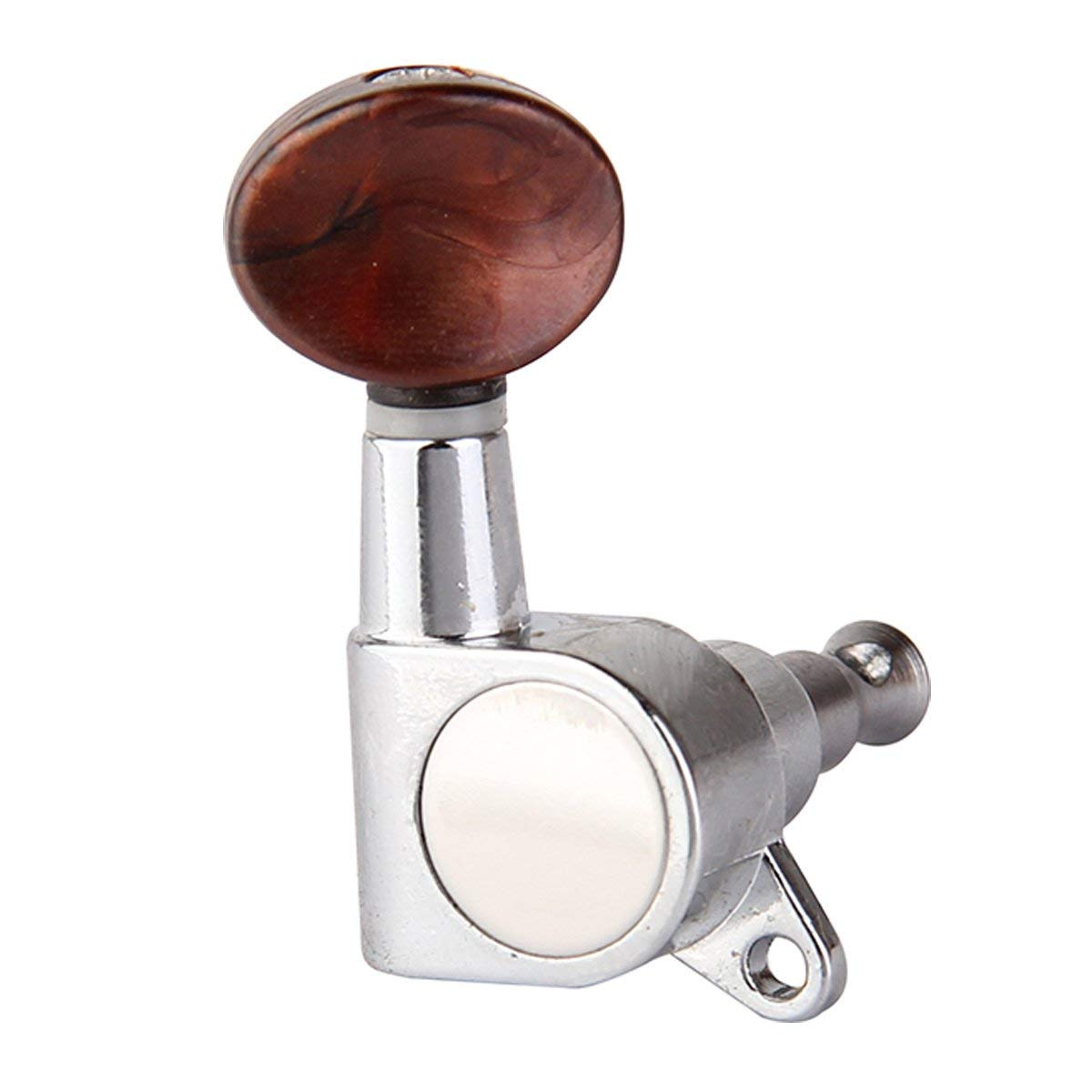 Cromo con Bot/ón Rojo Perla Musiclily 2+2 Clavijas de Afinaci/ón Clavijero de Repuesto para Ukelele