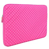 Laptop Sleeve, Evecase 17 - 17.3 inch Diamond Foam Splash & Shock Resistant Neoprene Universal Sleeve Case Bag for Chromebook Ultrabook Laptop Notebook Computer - Hot Pink