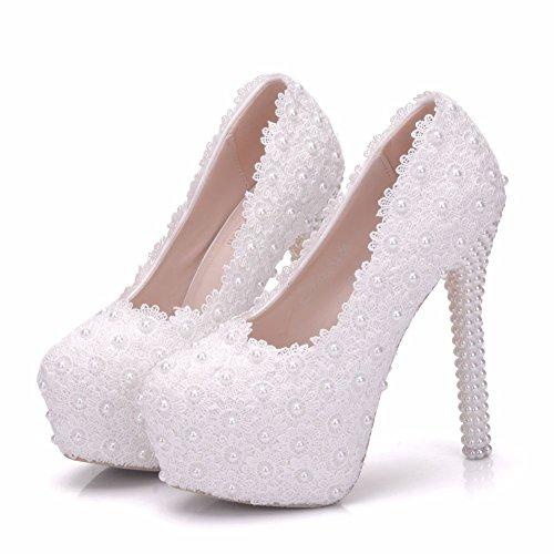 Crystal Queen White lace Wedding Shoes Pumps Thin Heels Platform Round Toe high Heels White lace Wedding Heels (8 B(M) / EU39, -