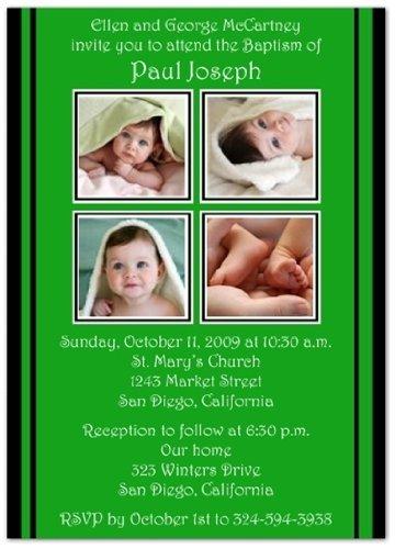 2 + 2 on Green & Black Baptism Invitations Christening Invitations - Set of 20