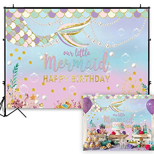 Funnytree 7x5ft Under The Sea Little Mermaid Backdrop Girl Princess Birthday Party Photography Background Purple Pink Scales Gold Glare Glitter Pearl Banner Cake Table Decoration Photo Booth Props]()
