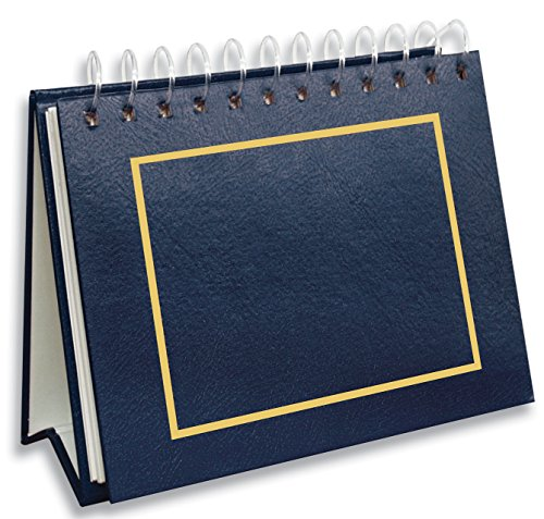 Pioneer Photo Albums 50 Pocket Spiral Bound Leatherette Mini Photo Album Easel for 4 by 6-Inch Prints, Navy Blue ()