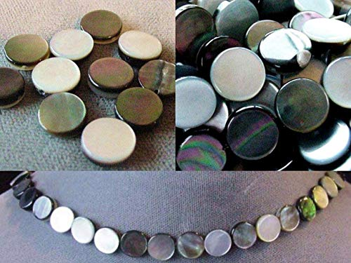 Versatile Black Tahitian Mop Coin Bead Strand for Jewelry Making 104348