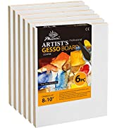 PHOENIX Gessoed Wood Panel Boards for Painting - 8x10 Inch/6 Pack Coarse Surface Wood Painting Pa...