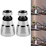 Water Faucet Filter - BESTGIFT 2Pcs Kitchen Water Head Sprayer 360° Swivel 3Colors Temperature Controlled LED Light Kitchen Sink Faucet Spray