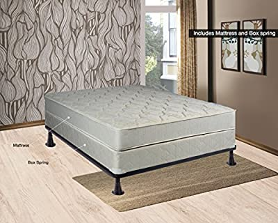 """Spring Sleep Twin Size Assembled Orthopedic Mattress & 4"""" Box Spring with Bed Frame Splendor Collection"""