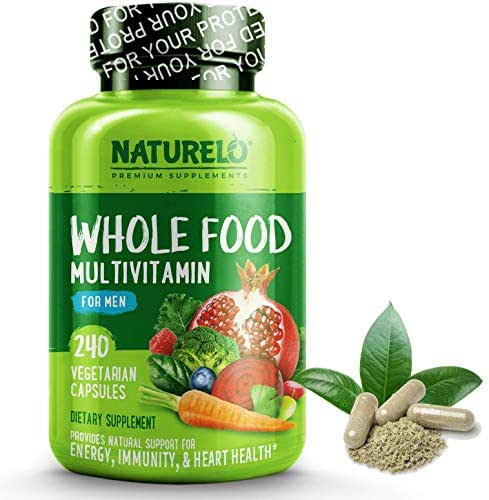 NATURELO Whole Food Multivitamin for Men - Natural Vitamins, Minerals, Antioxidants, Organic Extracts - Vegetarian - Best for Energy, Brain, Heart, Eye Health - 240 Vegan Capsules