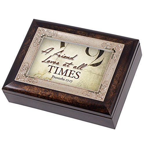 A Friend Loves at All Times Proverbs 17:17 Italian Design Jewelry Music Box Plays Amazing Grace