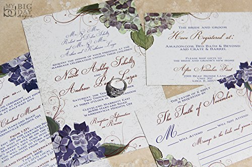 (Beautiful Hydrangea Wedding Invitation Sample)
