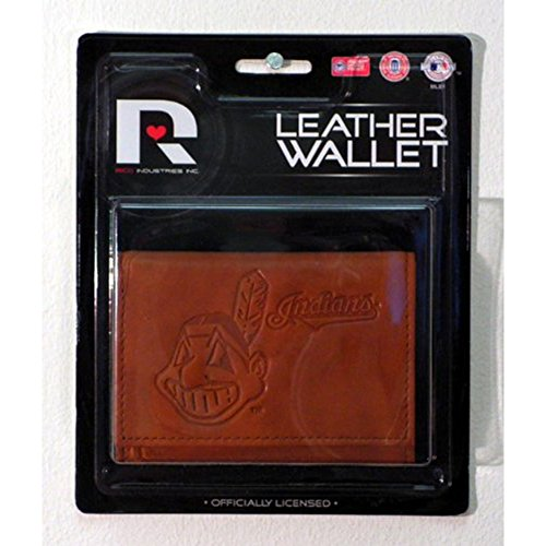Embossed Mlb Tri Fold Wallet - Rico Cleveland Indians MLB Embossed Leather Trifold Wallet