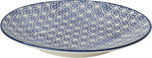 Nicola Spring Patterned Side, Dessert & Cake Plate - Blue Flower Design, 18 cm (7