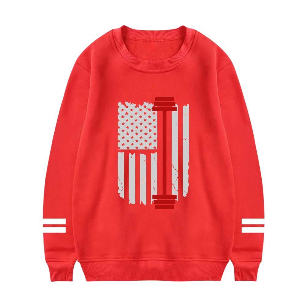 UeMuah Mens Gym Fitness Weightlifting American Flag Long Sleeve Crewneck Sweatshirt Cotton Pullover