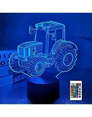 FULLOSUN Tractor 3D Illusie Lamp Verjaardagscadeau Nachtlampje Kids Naast Tafellamp, 16 Kleuren Auto Veranderende Touch Schakelaar Bureau Decoratie Lampen voor Jongen Mannen