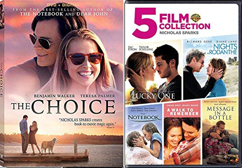 Choice Romance Movies Nicholas Sparks The Notebook / A walk to Remember / Nights in Rodanthe / Message in a Bottle / Lucky One & The Choice DVD Set Love ()