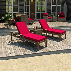Forever Patio Cypress 3 Piece Modern Patio Chaise Lounge Set with Red Sunbrella Cushions (SKU FP-CYP-3CLS-HR-FB)