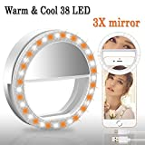 BMK Selfie Ring Light Clip Rechargeable 38 LED Bulbs Adjustable Selfie Lighting with 3X Magnifying Mirror Portable for iPhone, Tablet, iPad, Laptop, Camera (3X Mirror)