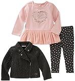 Calvin Klein Baby Girls' 3 Pc Jacket Sets, Vanilla/Peach/Grey, 12M