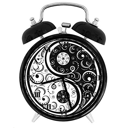 - BCWAYGOD Delicate Black and White Paisley Ying and Yang Icon Alarm Clock,Alarm Clock for Kids,Desk Clock 4in