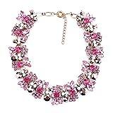 Azhido Bling Rhinestone Crystal Choker Collar Necklace Short Bib Statement Chunky Jewelry (Pink)