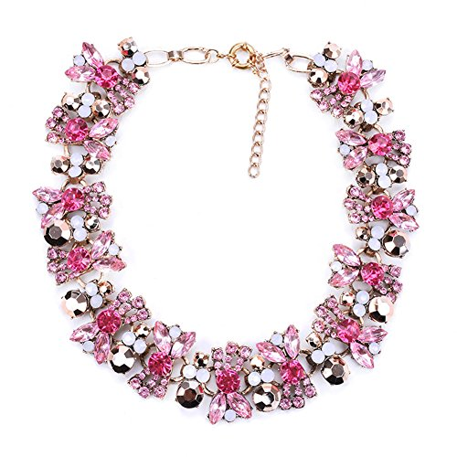 Azhido Bling Rhinestone Crystal Choker Collar Necklace Short Bib Statement Chunky Jewelry (Hot Pink Crystal)