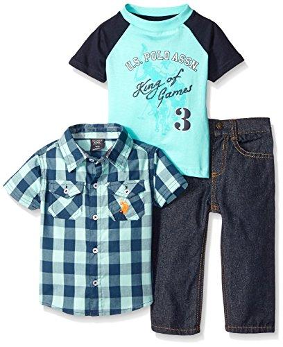 U.S. Polo Assn. Baby Boys'' Plaid Sport Shirt, Graphic Print T-Shirt and Denim Jean