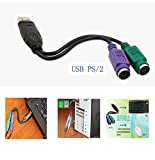 USB to PS/2 PS2 Adapter Keyboard and Mouse Splitter Cable( L= 7 inch)