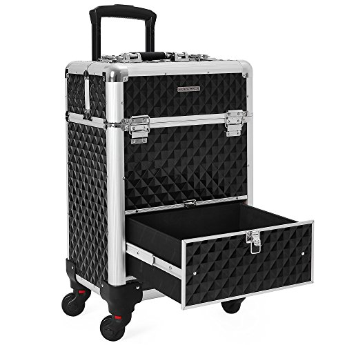 SONGMICS 4 Universal Wheels Rolling Cosmetic Case, Makeup Train Case Trolley with 1 Sliding Drawer, Sturdy Hexagon Pull out handle, Lockable Aluminum Case with 2 keys, Black UJHZ07B