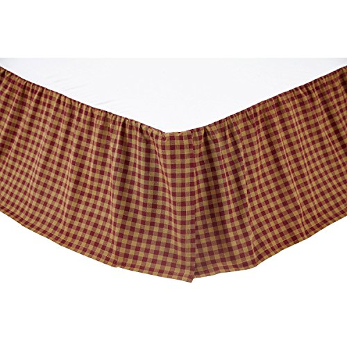 VHC Brands 9468 Burgundy Check Queen Bed Skirt 60 x 80 x 16