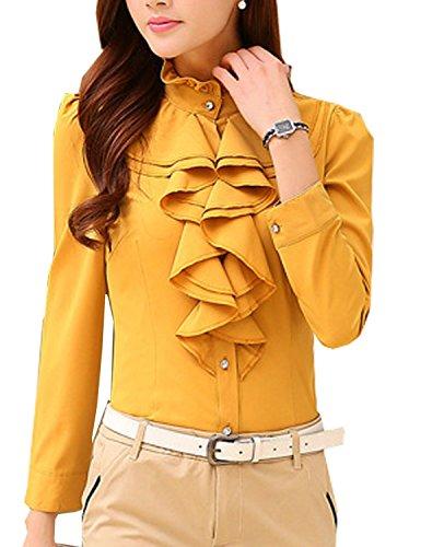 Ruffle Button Down Shirt - 4