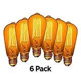 lightbulbs edison - Edison Light Bulb 60 Watt Old Fashioned Vintage Light Bulb, Incandescent Lights 110V E26/E27 Base Warm White Clear Pendent Light Bulb Pack of 6