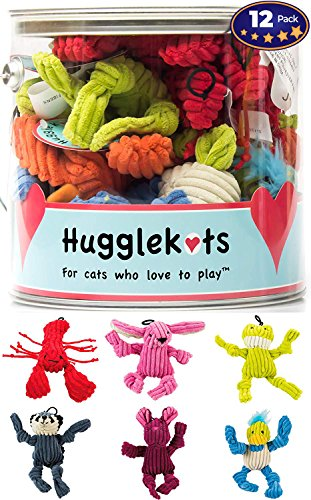 Plush Cat Toys With Catnip 12 Pack: Mini Animals. Each Bucket Comes With 3 Varieties of Stuffed Cat Toy Designs. Twelve Toy Value Pack Plus a Fun Storage Container. Squeeze to Release Catnip Scent! by Disco Pets