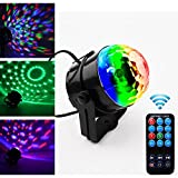 Party lights,Sumger Remote Control Multiple Colors Changing 3W RGB Stage Light An Upgraded Version Of Crystal Magic Rotating Ball Effect LED Sound activated Disco DJ Stage Lighting Wedding Show Club Pub DMX Light KTV Party