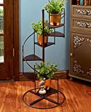 PLANT STAND SPIRAL STAIRCASE PLANTER METAL AND WOOD 6 STEPS INDOOR OUTDOOR DECOR ,,#G434G14 1T4G3484TYG491924