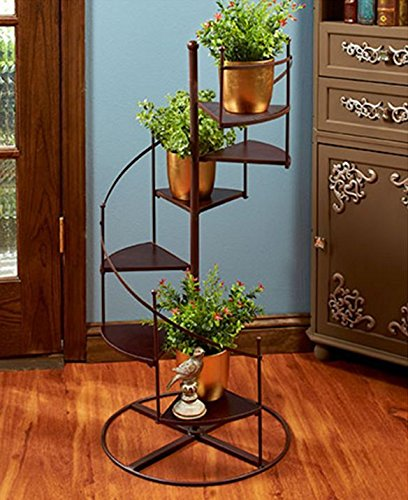 PLANT STAND SPIRAL STAIRCASE PLANTER METAL AND WOOD 6 STEPS INDOOR OUTDOOR  DECOR ,,#
