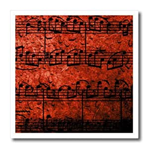 ht_5881_2 Yves Creations Musical Notes - Musical Interlude in Red - Iron on Heat Transfers - 6x6 Iron on Heat Transfer for White Material