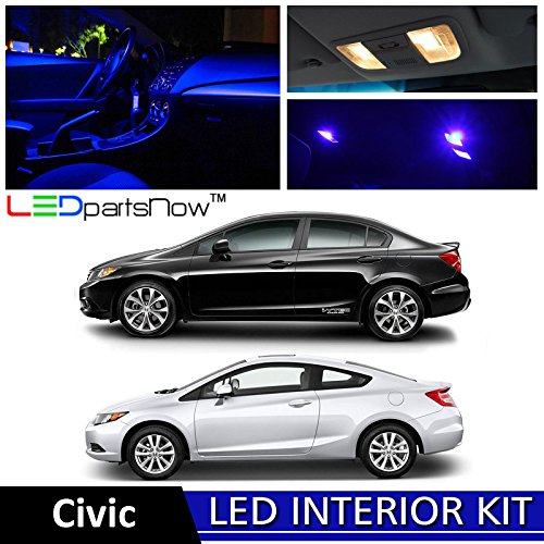 2 Honda Civic LED Interior Lights Accessories Replacement Package Kit (6 Pieces), BLUE ()
