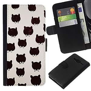EJOY---La carpeta del tirón la caja de cuero de alta calidad de la PU Caso protector / Samsung Galaxy Core Prime / --Modelo del gato corbata Bowtie Negro minimalista