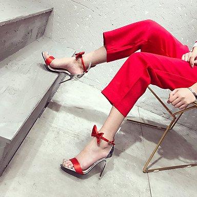Mujer cms Rojo Sandalias Confort 12 Stiletto Confort LvYuan PU Negro y Tacón Black Más Verano dPqZz
