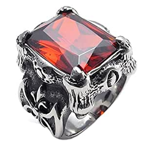 Anillo de hombres - TOOGOO(R) anillo de joyeria para hombre motorista, de acero inoxidable, de cristal rojo de estilo retro en forma de garra de dragon, negro + plata + rojo (8)