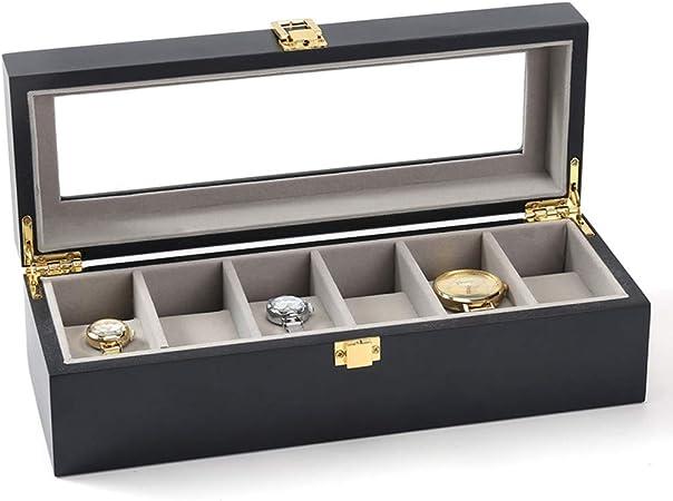 AnchengKAO Cajas Relojes Hombre Negro 6 Caja de Reloj de colección de Reloj de Madera Mate. Estuche Relojero Vitrina Hecho: Amazon.es: Hogar