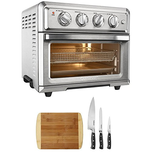 - Cuisinart Convection Toaster Oven Air Fryer with Light Silver (TOA-60) with Cuisinart Triple Rivet Collection 3-Piece Knife Set & Premium Two Tone Bamboo Cutting Board